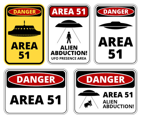 alien face: UFO, Aliens and Area 51 danger warning road signs vector collection