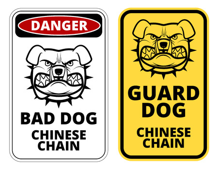 humorous: Bad Dog, Chinese Chain. Humorous Comic  Signs. Vector Illustration