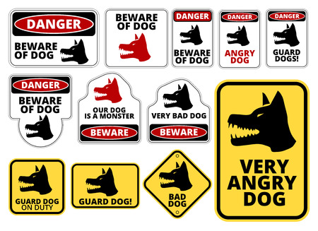 alert: Danger Dog Signs Labels and Plates Collection. Vector   set