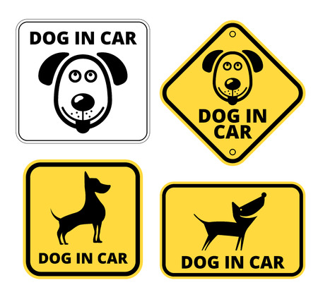 Dog in Car Signs Humorous Comic Labels and Plates Collection. Vector Illustration
