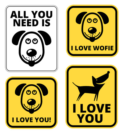 cute dog: Friendly Dogs  Signs Humorous Comic Labels and Plates Collection. Vector Illustration