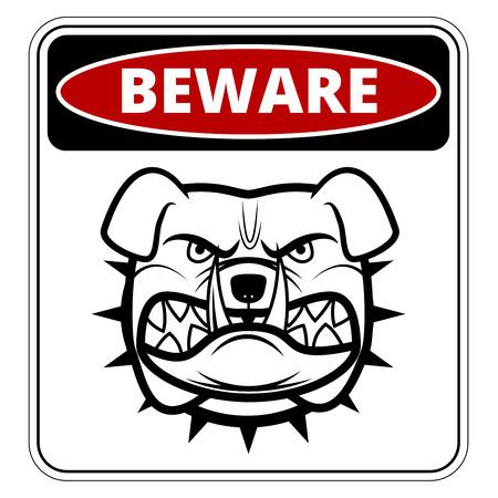 Beware of Dog   Danger Sign. Vector Illustration