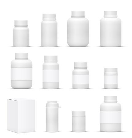 Vecteur Blank grand ensemble de bouteilles d'emballage en plastique avec couvercle des cosmétiques, des vitamines, des pilules ou des capsules Banque d'images - 44427469