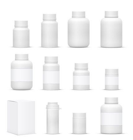supplements: Vector Blank Big Set of Plastic Packaging Bottles with Cap for Cosmetics, Vitamins, Pills or Capsules