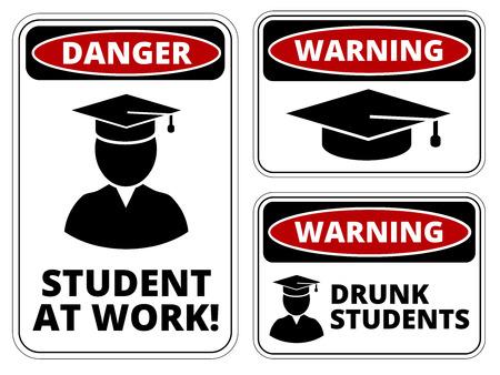 해학적 인: Student at work joke humorous Sign. Vector 일러스트