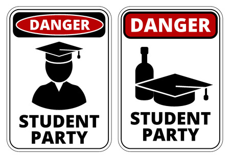 on all fours: Drunk student party funny joke danger signs set. Vector