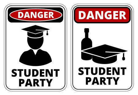 estudiante: Signos broma divertida de peligro del partido estudiante borracho establecen. Vector Vectores