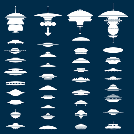 Big collection of UFO crafts and Space Stations silhouette on black nigh background. Vector Illustration