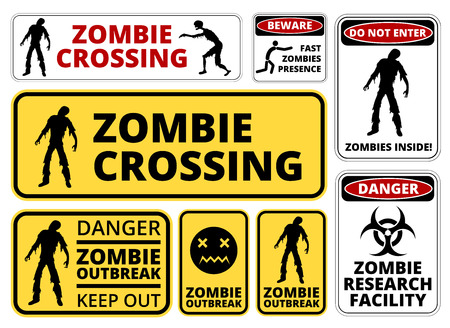 Zombie Crossing Infected  Apocalypse Signs, Symbols and Billboards Vector eps8