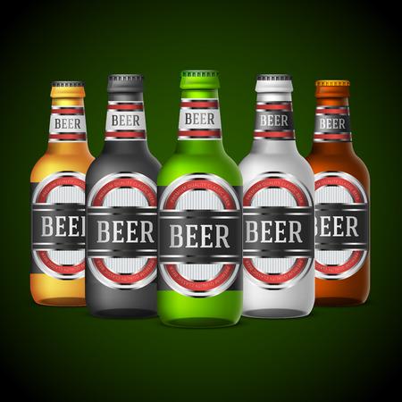 녹색, 노란색과 다른 색상 맥주 병 추상 레이블 디자인 템플릿. 벡터 일러스트 레이 션 스톡 콘텐츠 - 44430288