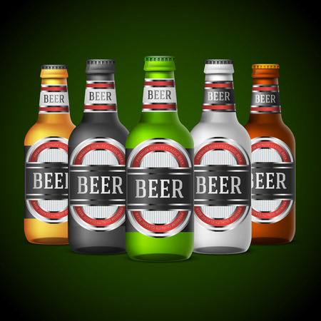 beer bottle: Green, yellow and other colors beer bottles template with abstract label design. Vector illustration