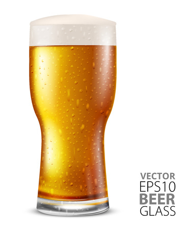 unbottled: Glass of light beer with water drops, vector illustration