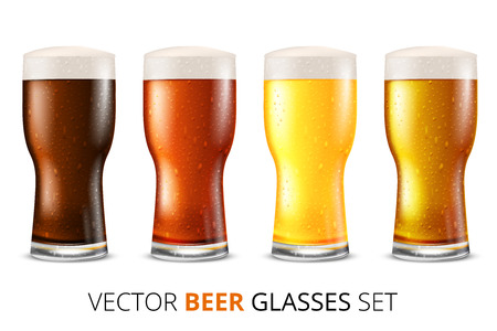 dark beer: Set of glasses of light and dark beer with water drops, vector illustration