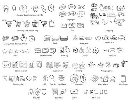 shopping icon: Web shopping and on line trade - hand drawn style vector icon set