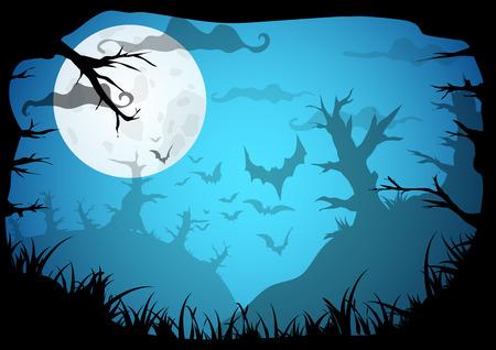 noche y luna: Víspera azul espeluznante borde del marco a4 con la luna, los árboles de muerte y los murciélagos. Vector de fondo con el lugar de texto