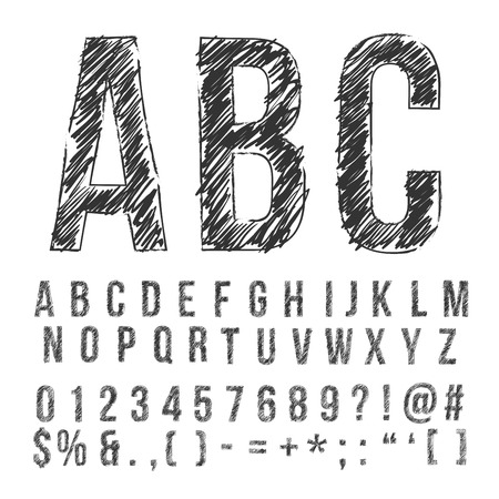 hand pencil: Hand drawn pencil sketched font: letters, numbers and symbols, vector