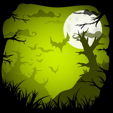 old movie: Halloween Party Green Old Movie Style  Background. Vector illustration Illustration