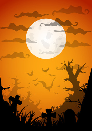 old movie: Halloween Party Orange Old Movie Style Poster Background. Vector illustration