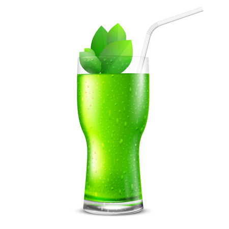 cocktail drink: Green fresh glass with drink and leaves - juice, cocktail or tea. Vector illustration Illustration