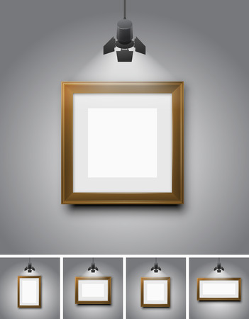museum: Empty wooden pictures frames, wall template of gallerys, museum or exhibition - Vector background