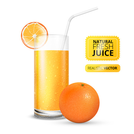 juice: Vector illustration set of  juice glass and fresh  orange Illustration