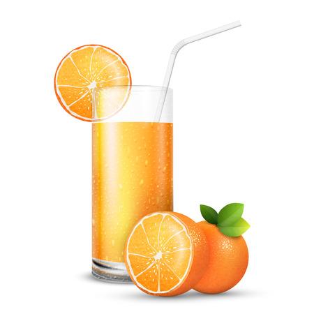 vaso de jugo: conjunto de ilustración vectorial de vaso de jugo de naranjas brillantes y frescos