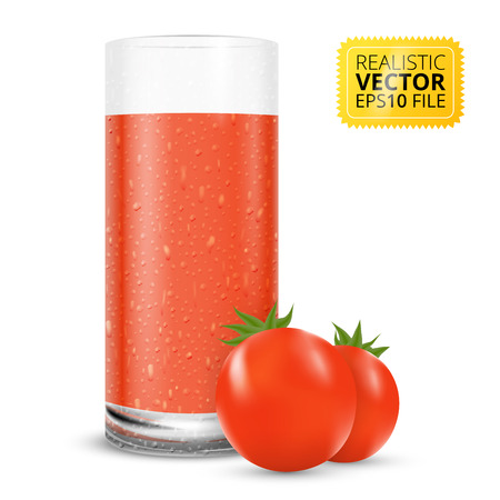 tomato juice: Tomato juice glass with water drops realistic vector illustration