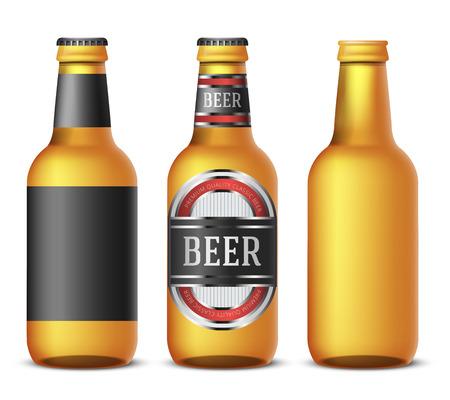 Gold flessen bier sjabloon op een witte achtergrond - realistische vector illustratie