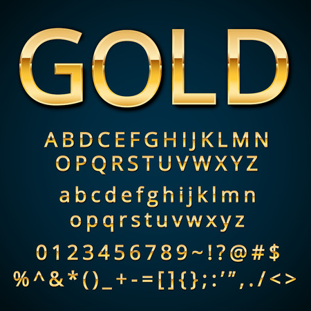 Gold letter, alphabetic fonts  with numbers and symbols. Stock Illustratie