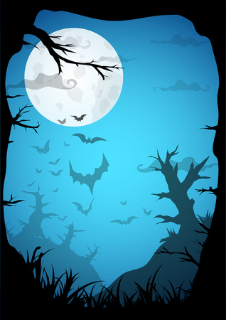 necropolis: Night Halloween a4 format  background with creepy graveyard and dead trees, vector illustration