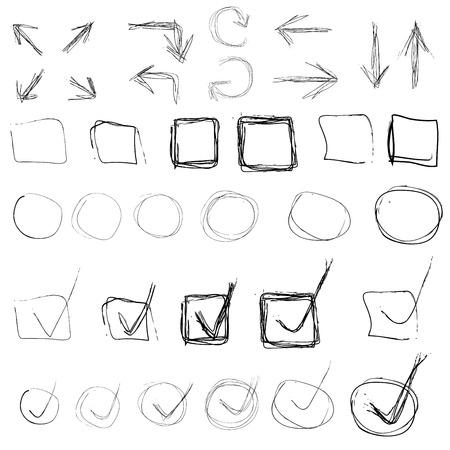 Set of black highlight circles, chek marks, arrows, cross hand drawn elements.