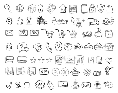 Set of hand drawn web shopping and online e-commerce vector icons Ilustracja