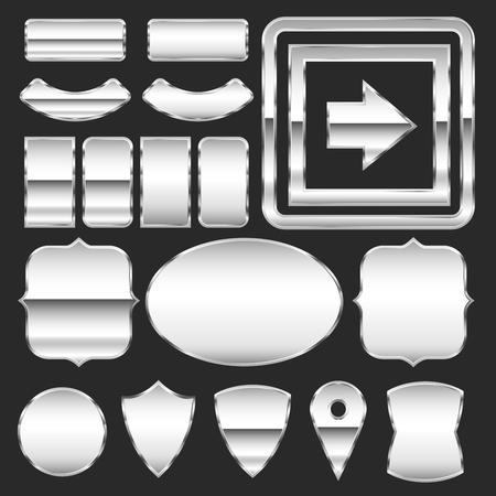 placa bacteriana: Vector conjunto de placas metálicas de diferentes formas