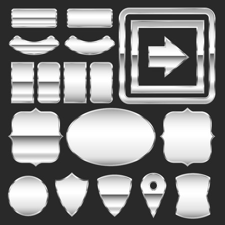 plaque: Vector set of metal plates of different shapes Illustration