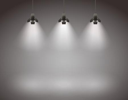 Studio spotlight background with lamps
