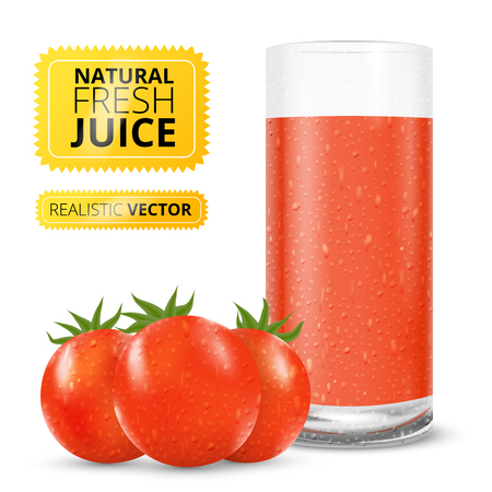 tomato juice: Glass of fresh tomato juice, realistic vector illustration