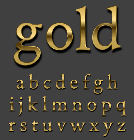 gold font: Tarnished Gold font set. Letter lowercase with shadows. Vector.