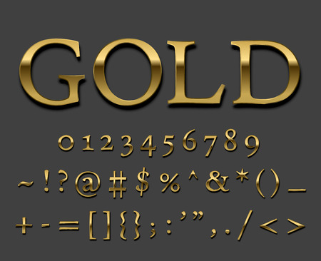 gold font: Tarnished Gold font set. Numbers and special symbols with shadows. Vector. Illustration