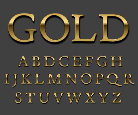 font: Establece la fuente del oro deslustrado. Letra mayúscula con sombras. Vector.