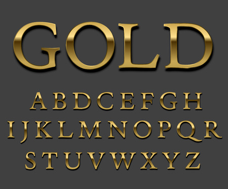 gold font: Tarnished Gold font set. Letter Uppercase with shadows. Vector.