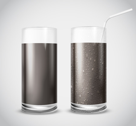 dew: Realistic Cola Glass set with dew and straw on white gray background