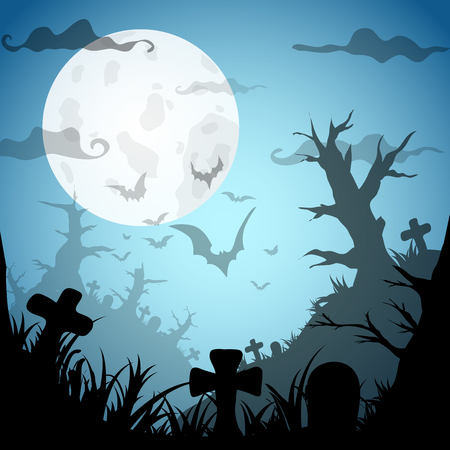 graves: Halloween Party BlueOld Movie Style  Background. Vector illustration