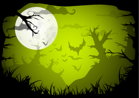graves: Halloween Party Green Old Movie Style Poster Background. Vector illustration Illustration