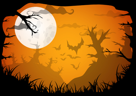 Halloween yellow spooky a4 frame border with moon, death trees and bats. Vector background with place for text Illustration
