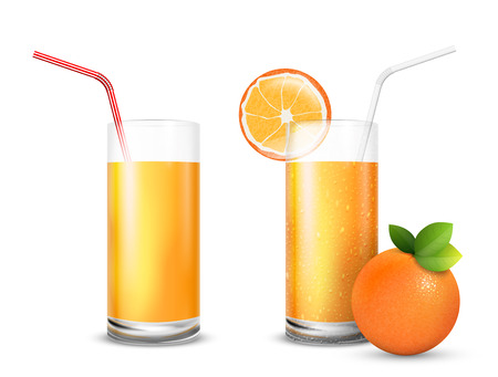 orange juice: Vector illustration set of  juice glasses and fresh  orange