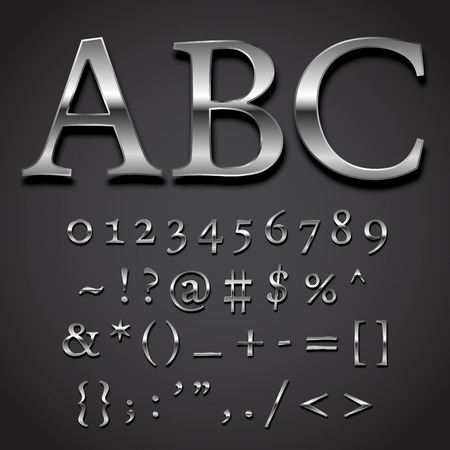 special character: Silver font Vector set -  numbers and special symbols character part