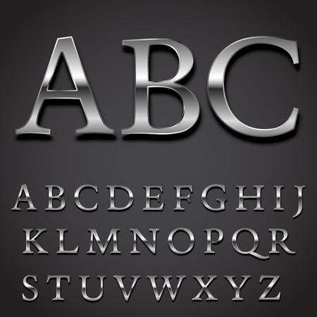 lettre alphabet: Argent police Vector set - lettres majuscules partie de caractères Illustration