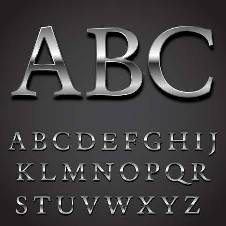 letras negras: Conjunto de plata Fuente de vector - las letras mayúsculas pieza de carácter