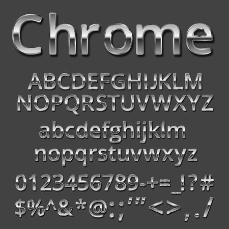 at symbol: Vector Chrome o argento metallizzato set di font. Lettere maiuscole e minuscole, numeri e simboli