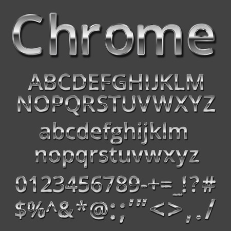 Vector Chrome or Silver metallic font set. Uppercase and lowercase letters, numbers and symbols Ilustração
